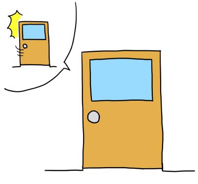 「ドアが閉まっている」イラスト