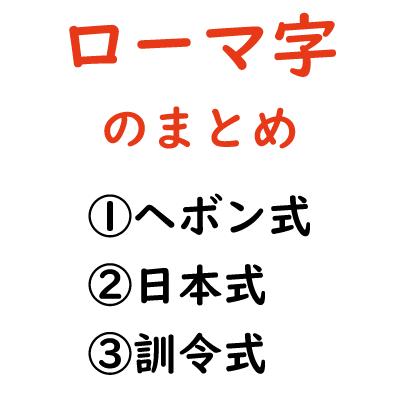 ローマ字のまとめ-ヘボン式、日本式、訓令式