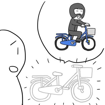 自転車が盗まれたイラスト
